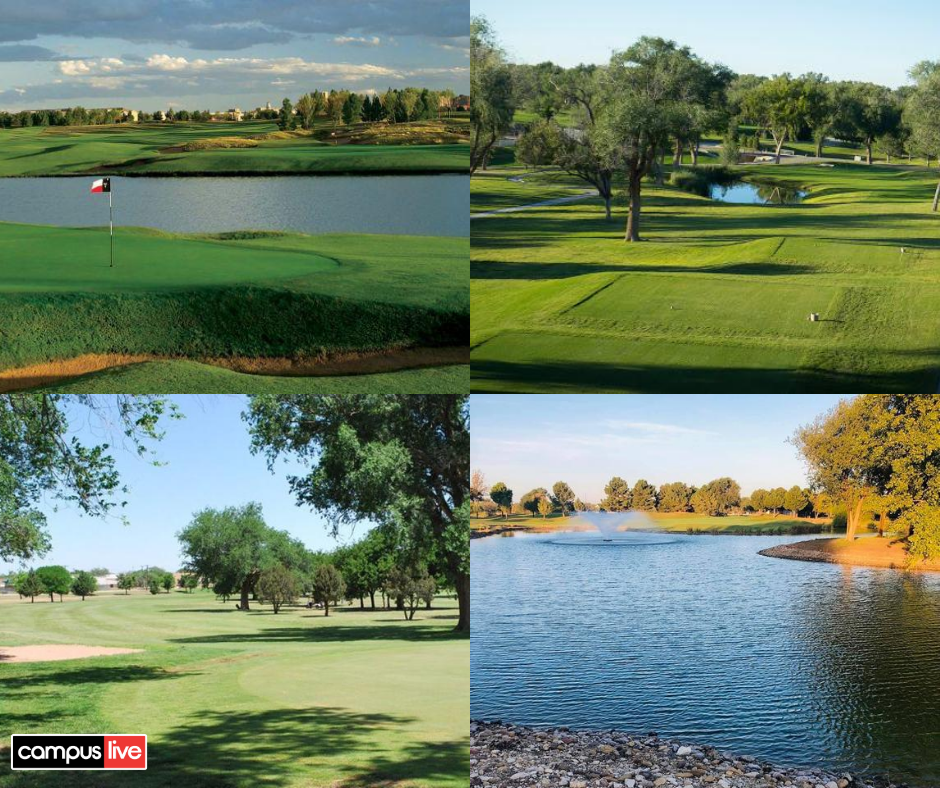 A four square photo of some of the best golf courses in Lubbock, showing greens, tee boxes, and water hazards