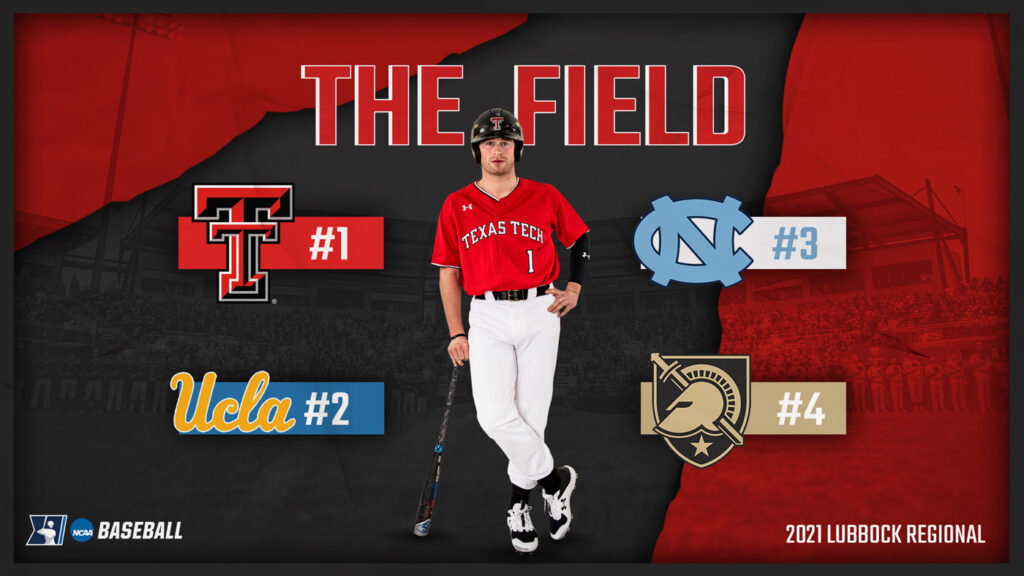 The Texas Tech Red Raiders host the NCAA Regional with UCLA, Army and UNC.