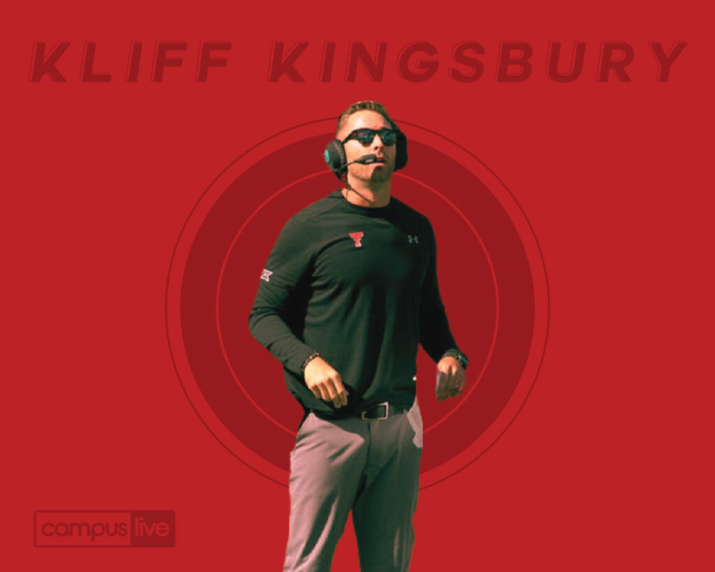 Former Coach Kliff Kingsbury looking up into the distance