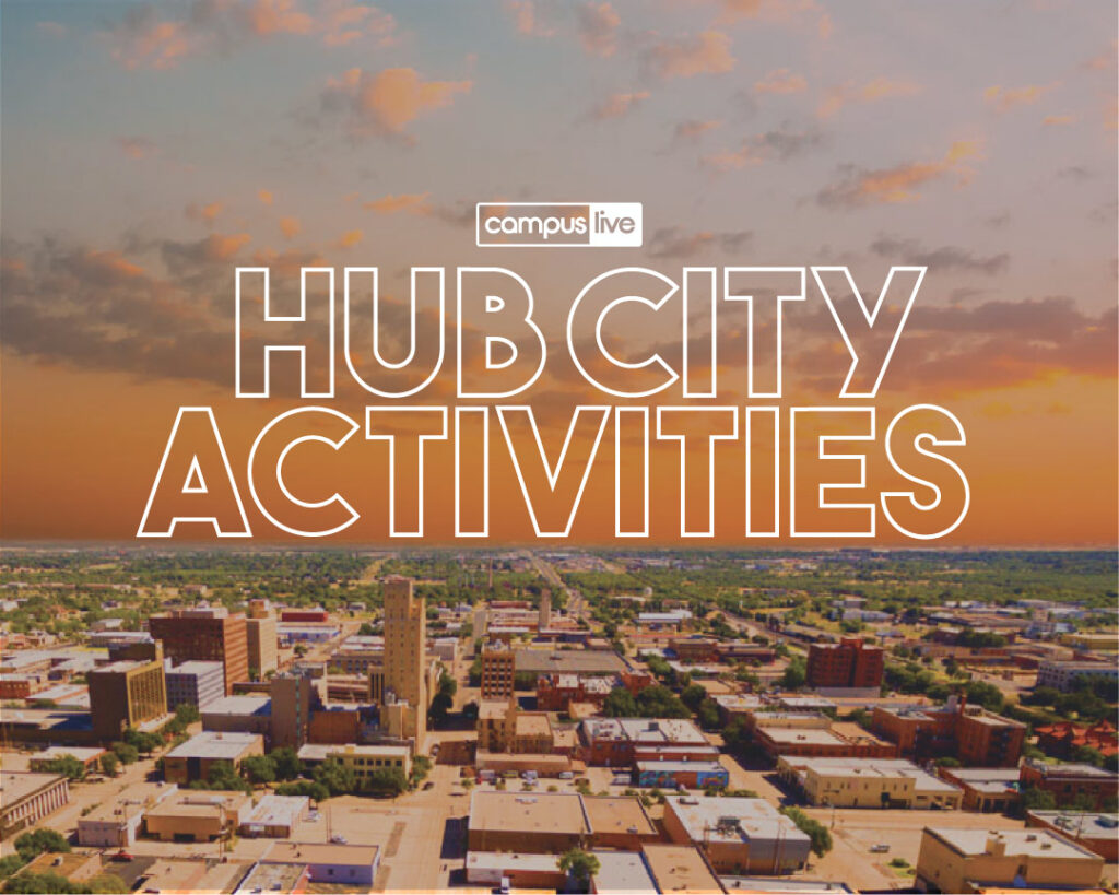 Graphic of Lubbock skyline with words Hub City Activities over it