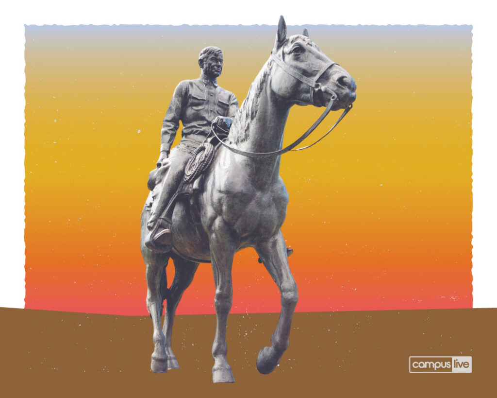 a graphic of Will Rogers and Soupsuds statue