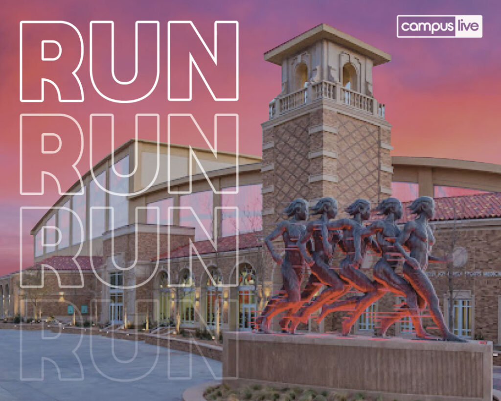 """Graphic os the """"RUN"""" statue outside of the Jones"""