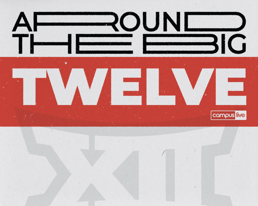 """typography graphic that reads """"around the big twelve"""" reflecting football for week two"""
