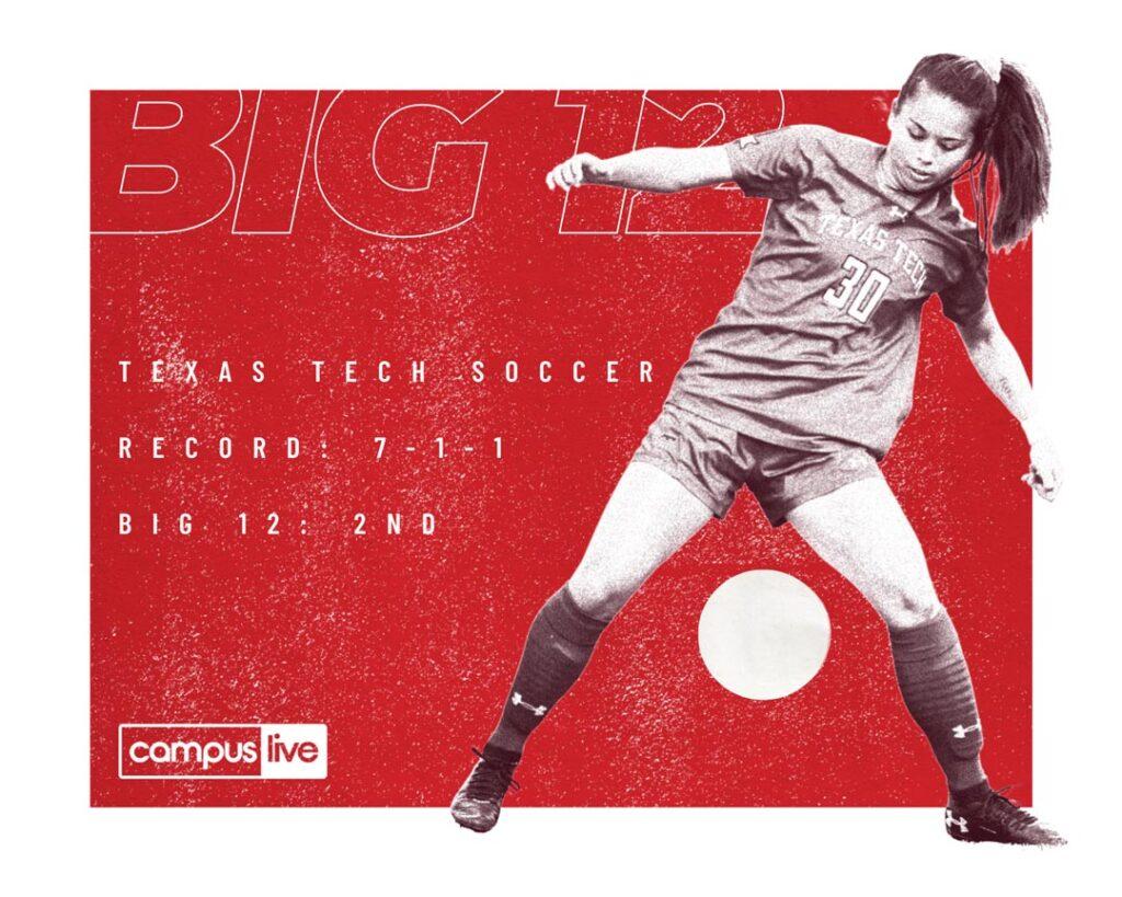 TTU soccer Big 12 player handling the ball