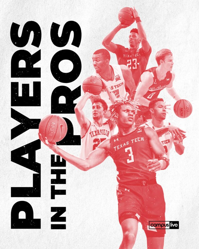 a graphic of past ttu basketball players with the text basketball players in the pros